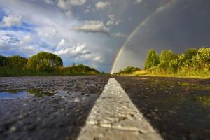 rainbow wallpaper road
