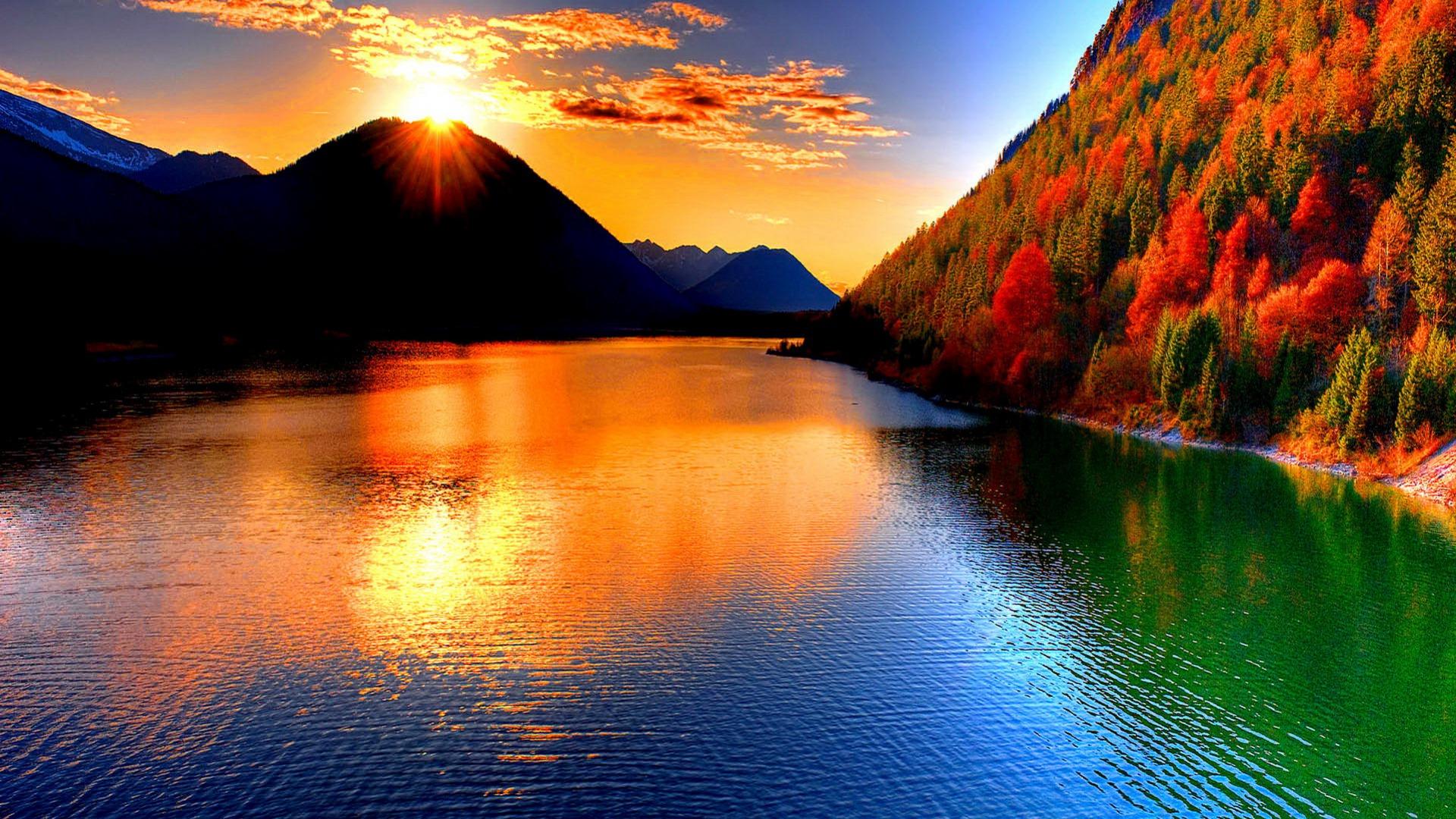 beautiful wallpaper sunset river