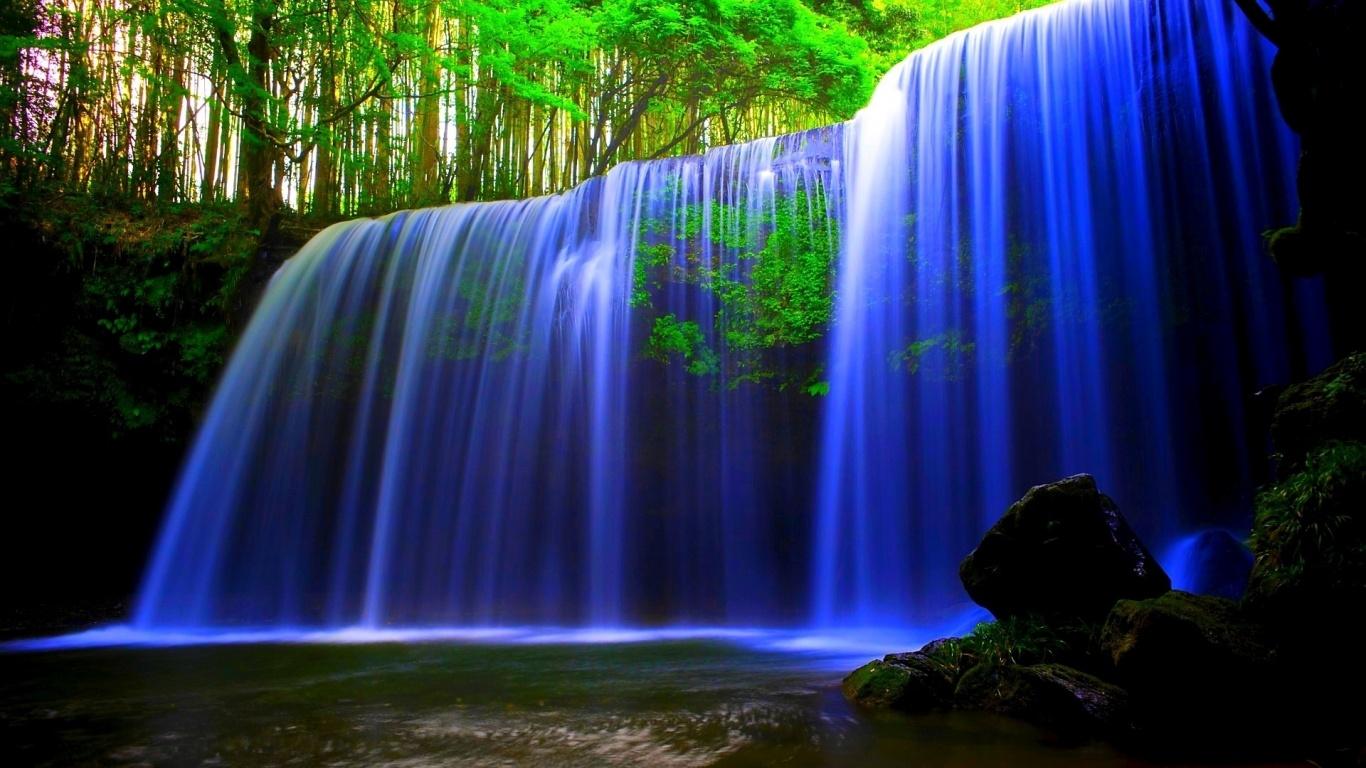 forest waterfall wallpaper blue