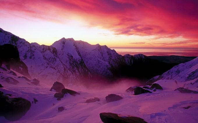 glacier wallpaper sunset