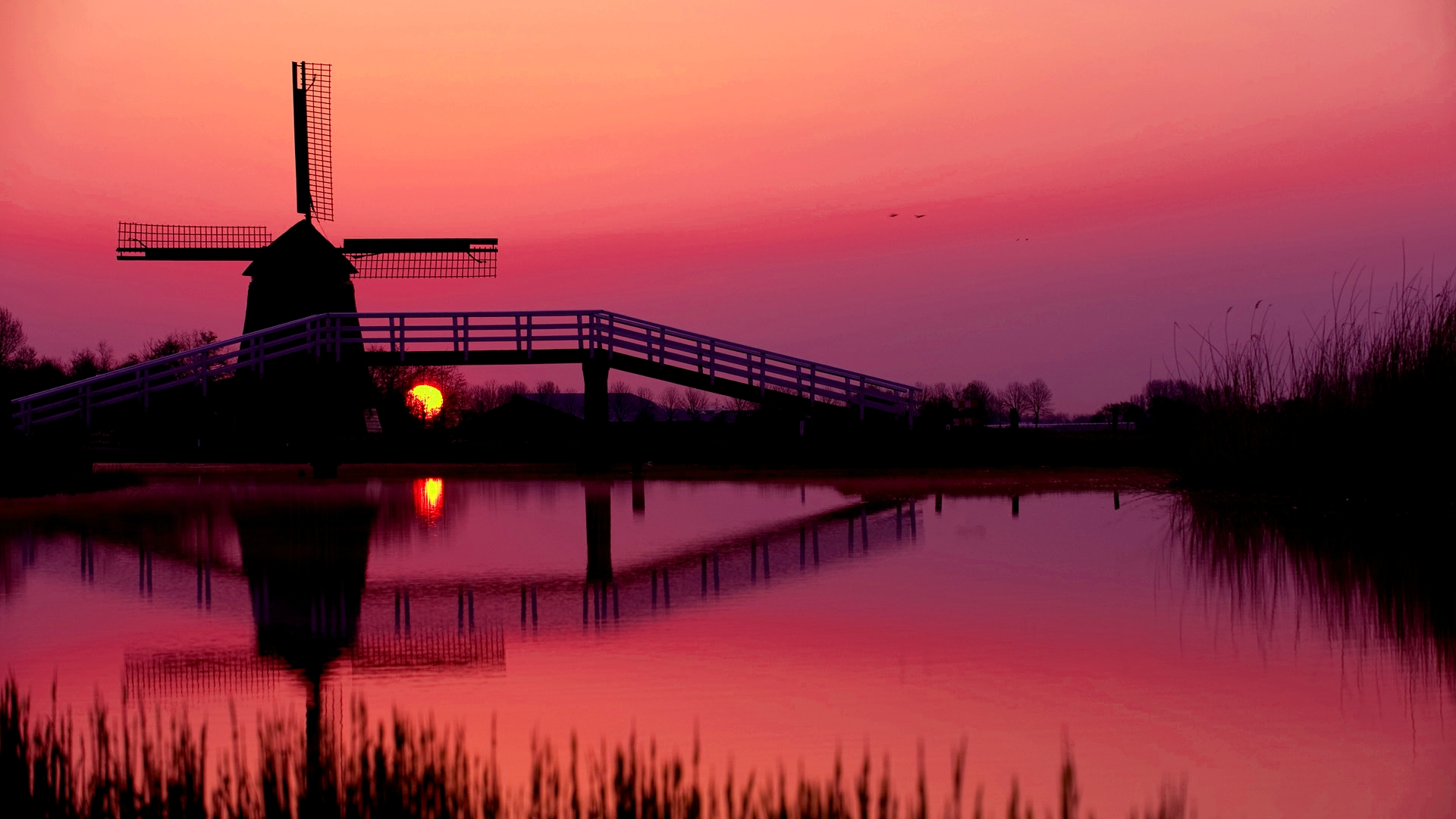 Silhouette of windmill by lake at dusk
