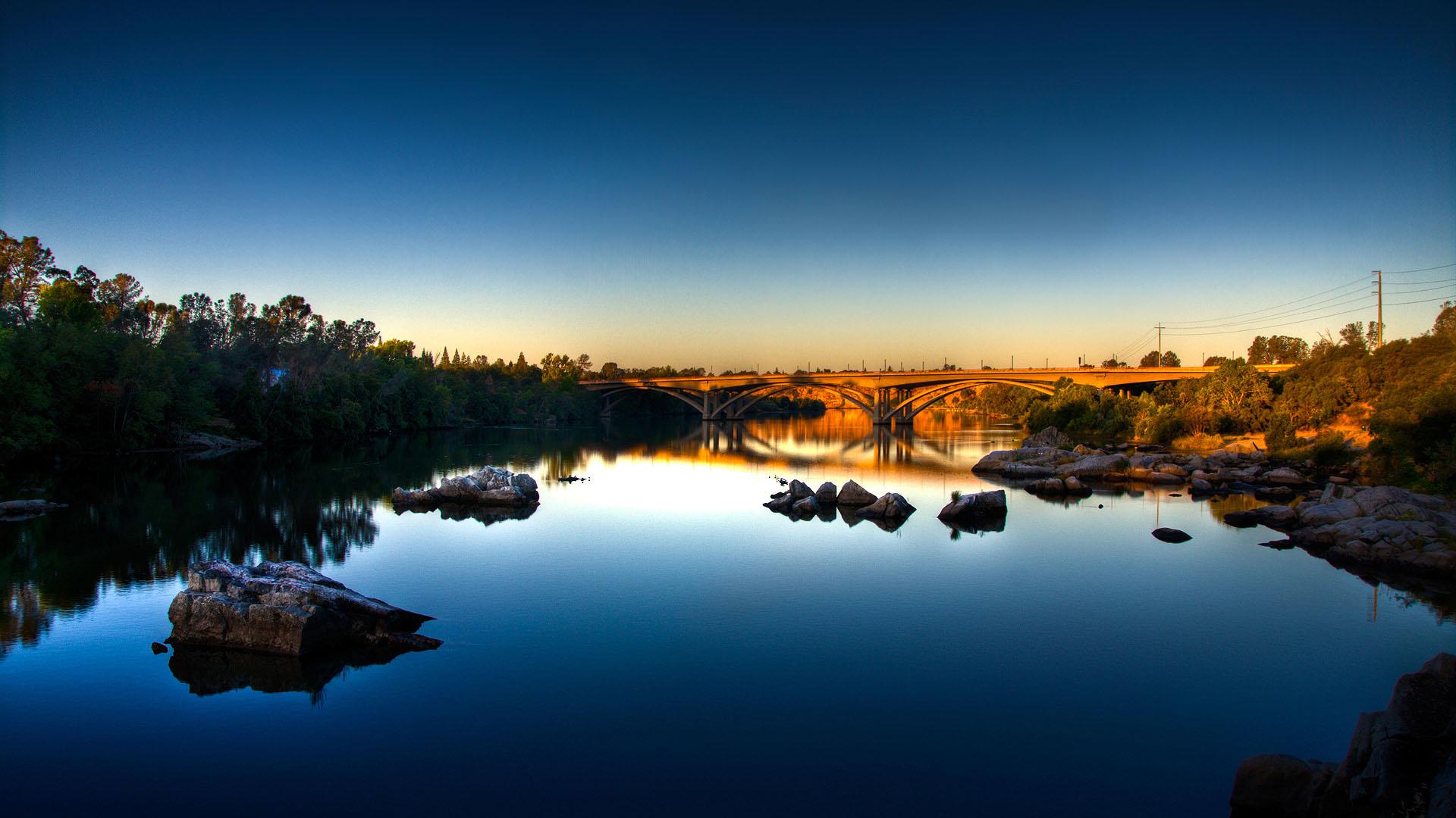 river wallpaper evening