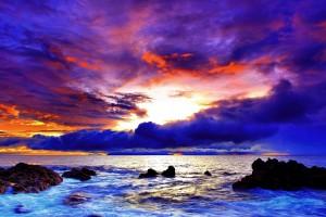 sunset images purple beach