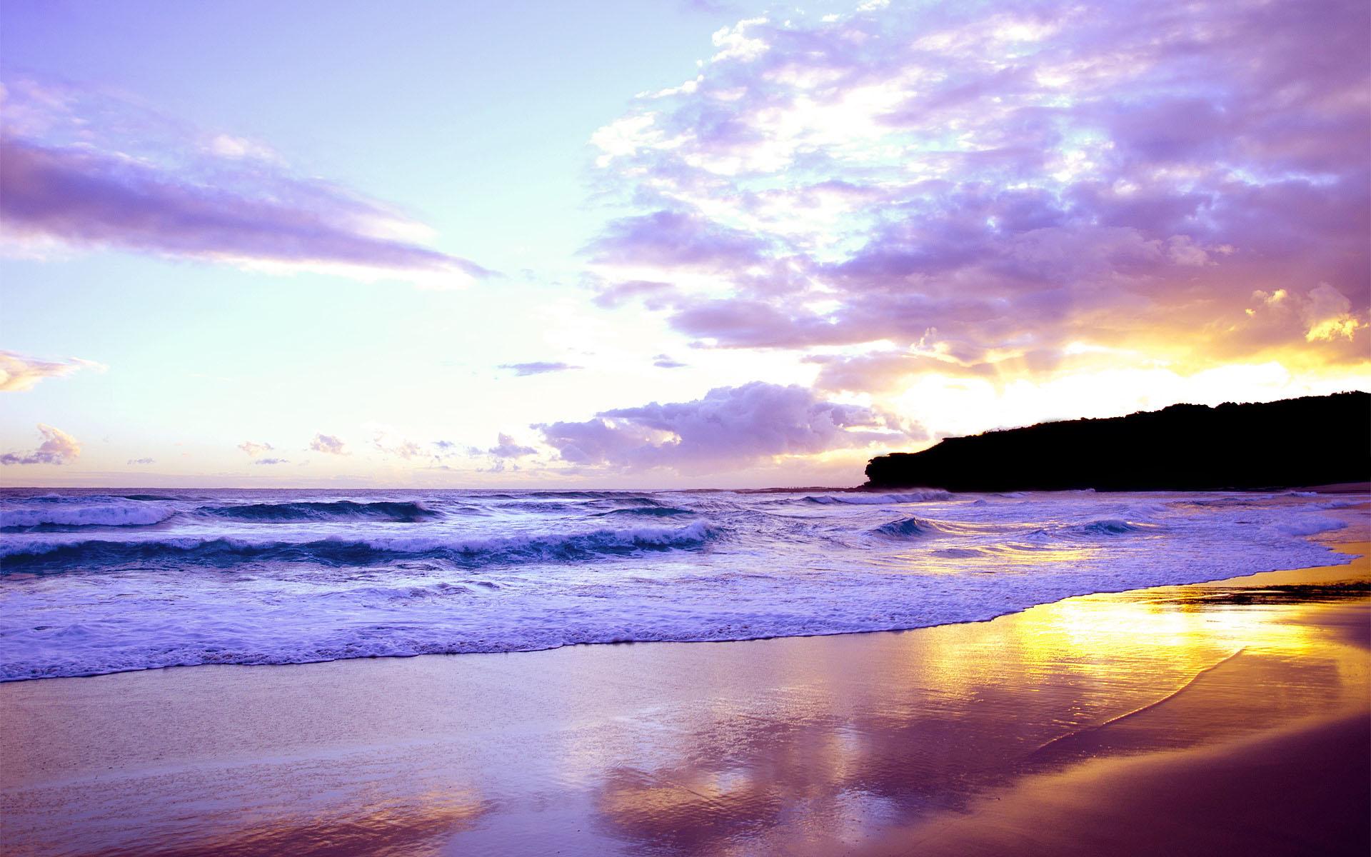 sunset wallpapers beach purple