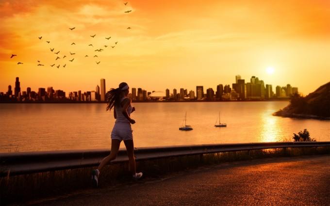 sunset wallpapers jogging
