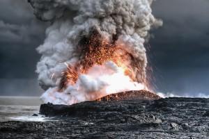 volcano smoke hd wallpaper