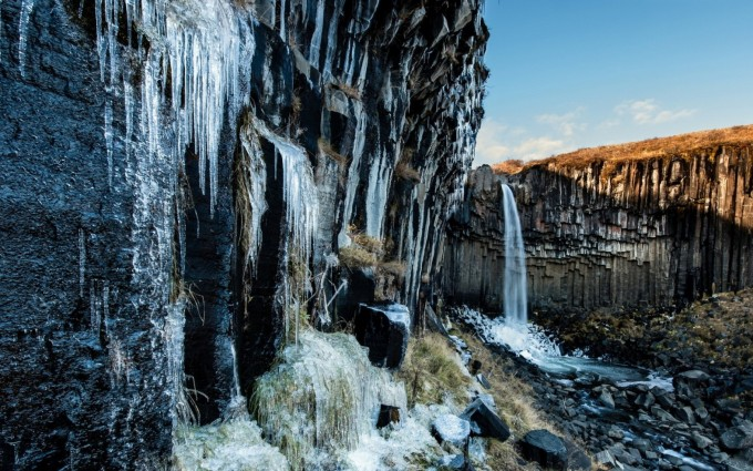 Waterfall Icicles On Formation Cliff HD Desktop Background