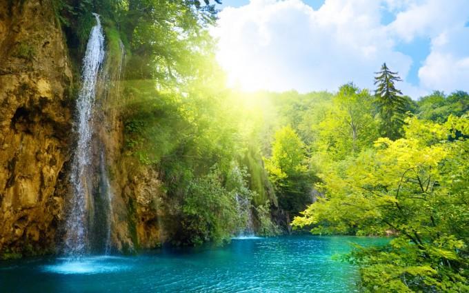 waterfall wallpaper sunrise