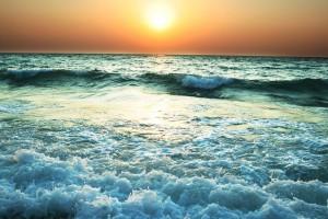 wave wallpaper sunset