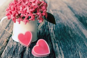 vase flowers pink hearts love